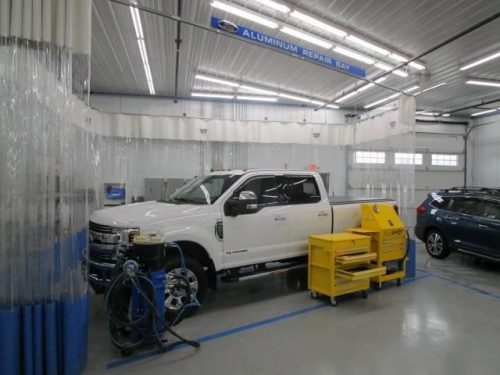 a Ford truck in Bates Collision's Aluminum Repair Bay
