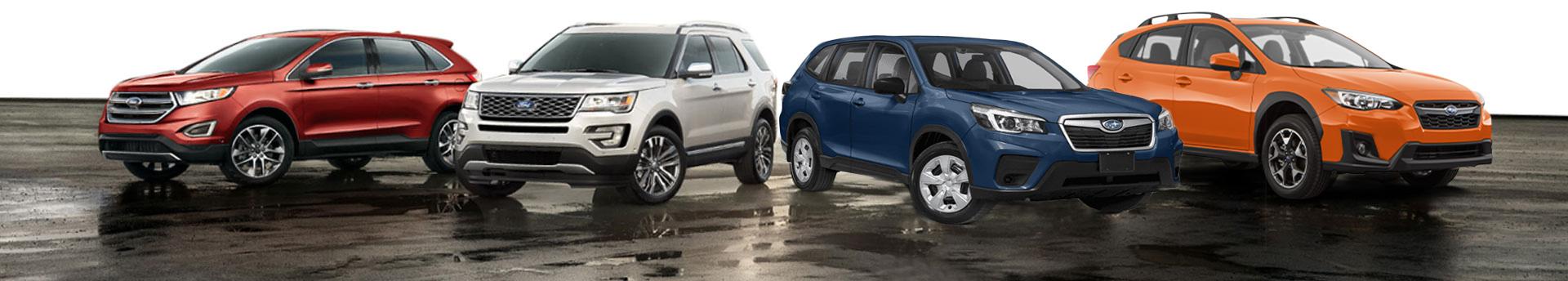 a fleet of Subaru vehicles