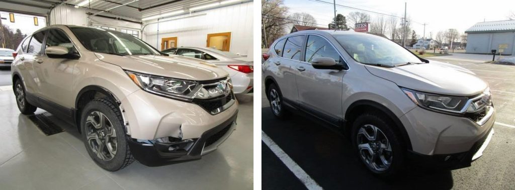 before and after of a car at Bates Collision
