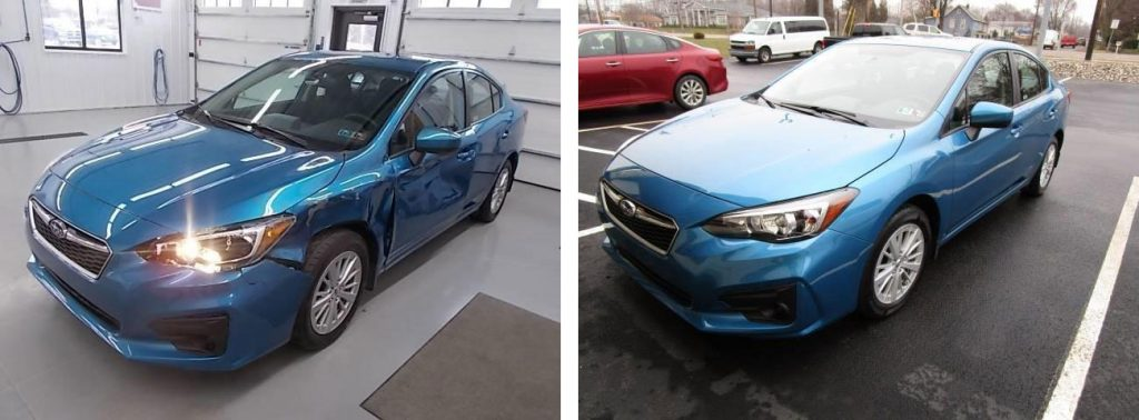 before and after photo of a blue Subaru at Bates Collision
