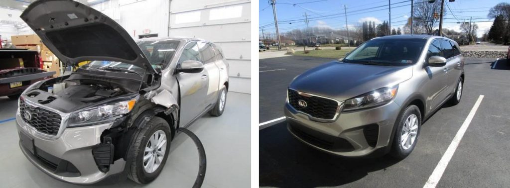 before and after photo of a Kia at Bates Collision
