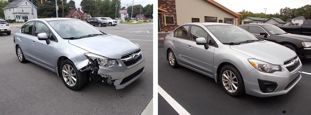 before and after photo of a silver Subaru at Bates Collision