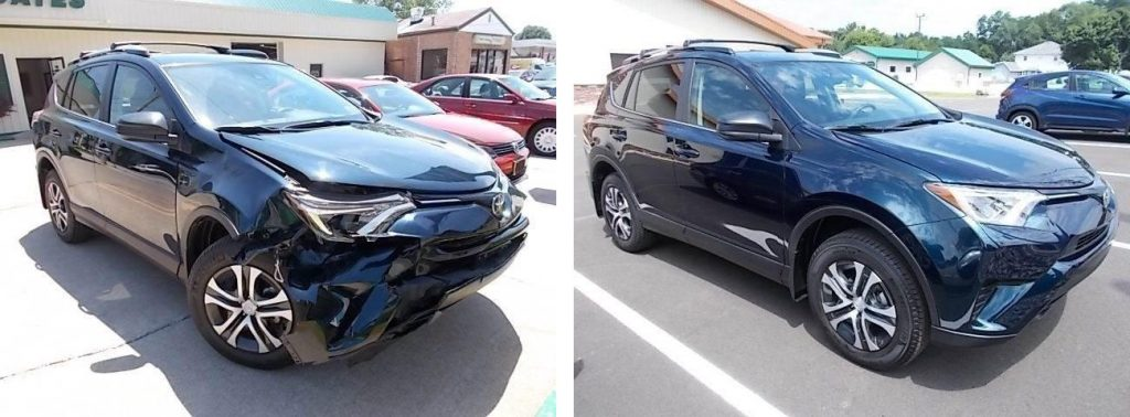 before and after photo of a Toyota at Bates Collision