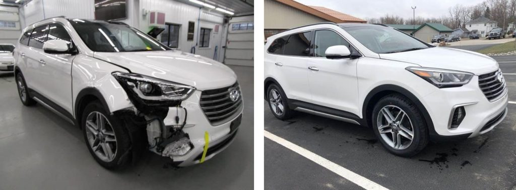 before and after photo of a Hyundai at Bates Collision