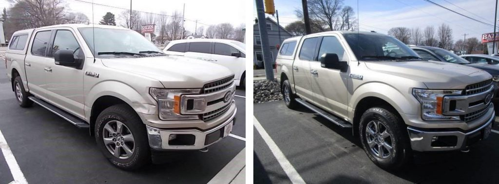 before and after photo of a Ford truck at Bates Collision