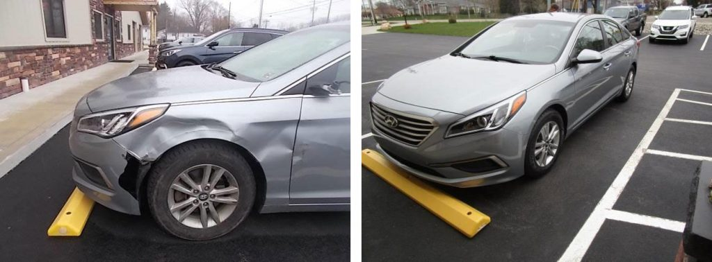 before and after photo of a gray Hyundai at Bates Collision