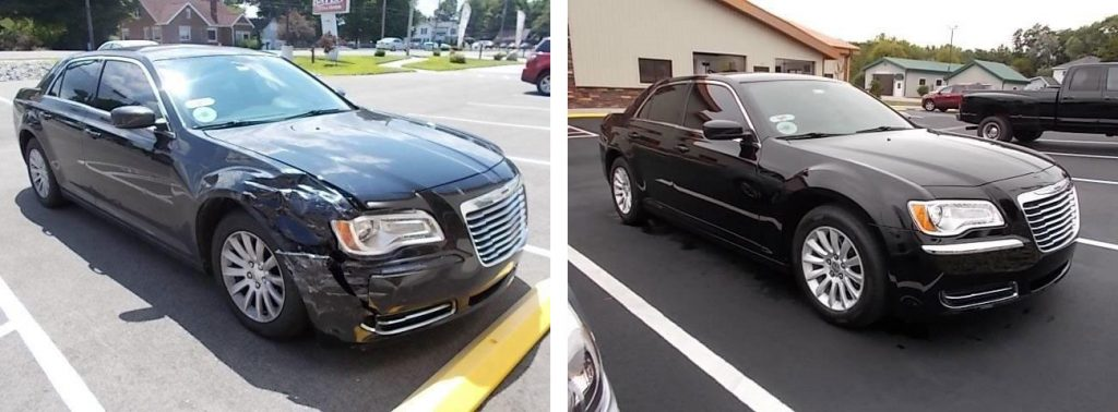 before and after photo of a Chrysler at Bates Collision