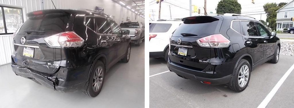 before and after photo of a Nissan Rogue at Bates Collision